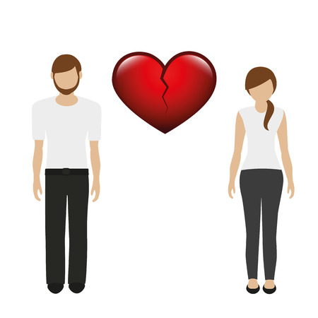 separation between man and woman character vector illustration EPS10