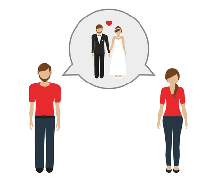 man and woman talk about getting married vector illustration EPS10