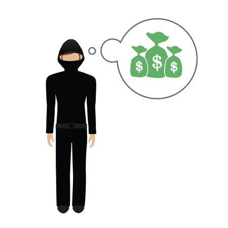 criminal character thinks about a lot of money dollars vector illustration EPS10