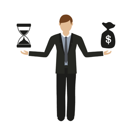 business concept about time and money business man character vector illustration EPS10