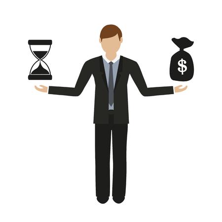 Geschäftskonzept über Zeit und Geld Geschäftsmann Charakter Vektor-Illustration EPS10