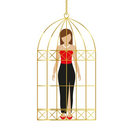 woman in a golden cage isolated on white background vector illustration EPS10 Illustration