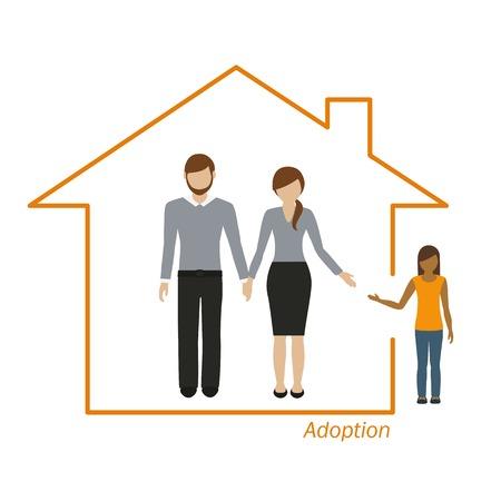 adoption of a girl family in a house vector illustration EPS10 Illustration