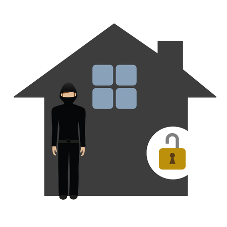 burglar character in the house isolated on white background vector illustration EPS10