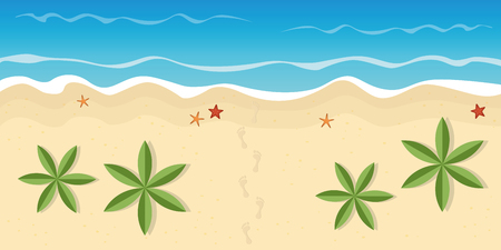footprints on lonely beach with palm trees and starfish summer holiday concept vector illustration EPS10