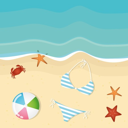 bikini and ball an summer holiday beach background with starfish and crab vector illustration EPS10