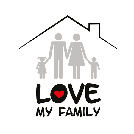 family in a house mother father and two children vector illustration EPS10