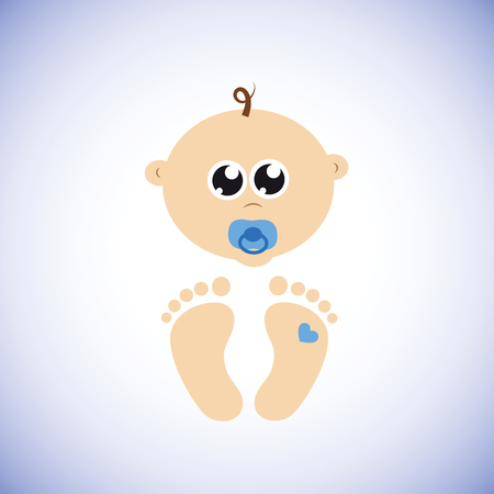 cute newborn baby boy character vector illustration EPS10