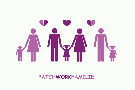 patchwork family separation concept pictogram vector illustration EPS10 Vettoriali