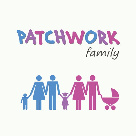 patchwork family concept pictogram