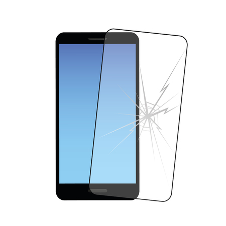 smartphone and mobile protective film with crack