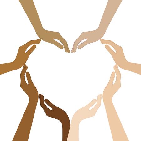 mani umane con diversi colori della pelle formano un'illustrazione vettoriale di cuore EPS10