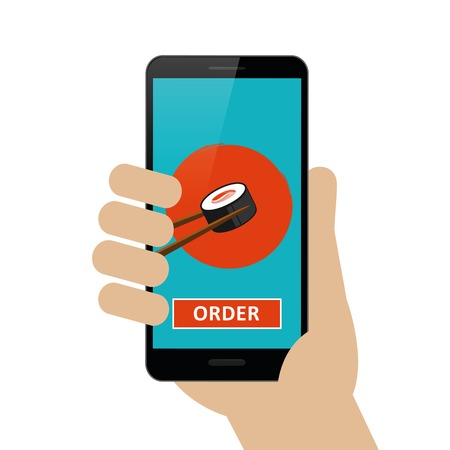 person ordered sushi online via smartphone isolated on white background vector illustration EPS10