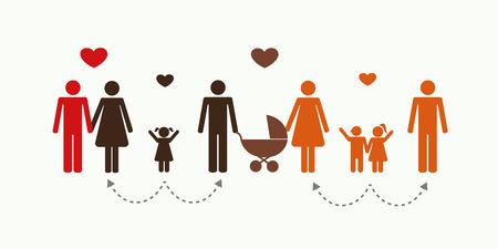 big patchwork family concept pictogram vector illustration EPS10 Vectores