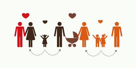 big patchwork family concept pictogram vector illustration EPS10 Illustration