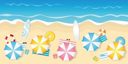 tourist beach with umbrellas sunglasses and surfboards vector illustration EPS10