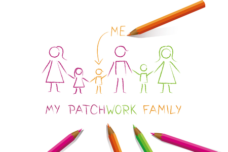 big patchwork family colorful drawing vector illustration EPS10 Vettoriali