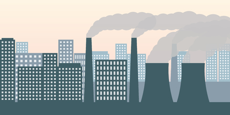city and industry with air pollution industry smog and noxious gas emission vector illustration EPS10 Illustration
