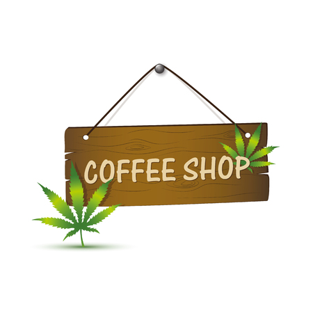 wooden sign with cannabis weed leaf and coffee shop typography vector illustration EPS10
