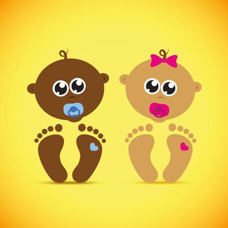 cute newborn baby boy and girl vector illustration EPS10