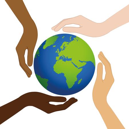 planeet aarde in het midden van menselijke handen met verschillende huidskleuren vectorillustratie eps10