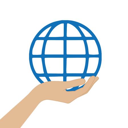 female hand hold global international symbol vector illustration Ilustrace