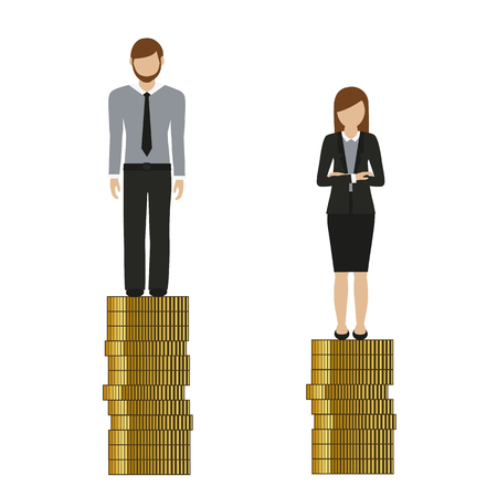 woman earns less money than man discriminates vector illustration EPS10
