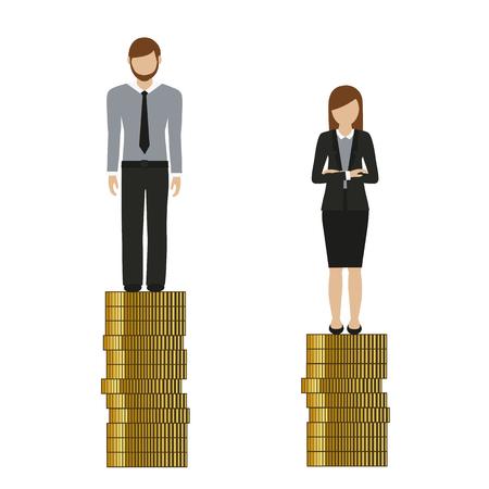 woman earns less money than man discriminates vector illustration EPS10 Ilustração Vetorial