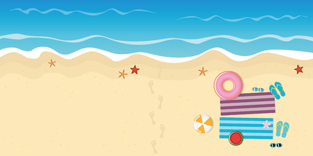footprints on the beach with starfish flipflops sunglasses watermelon and ball vector illustration EPS10