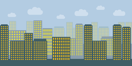big city with many skyscrapers and switched lights vector illustration Ilustração