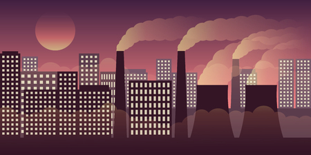 city scape by night with pollution by industry and smog vector illustration EPS10 Illustration