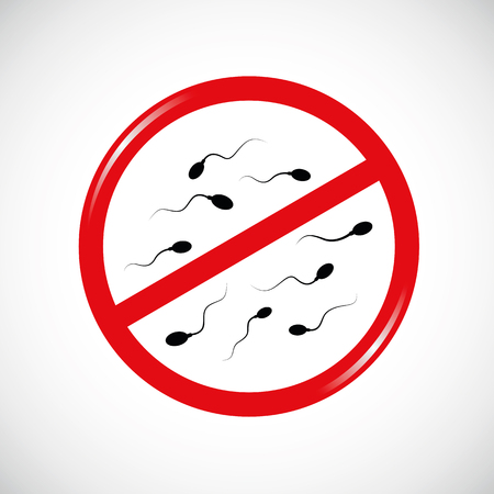 Sperm prohibited red sign vector illustration Vettoriali