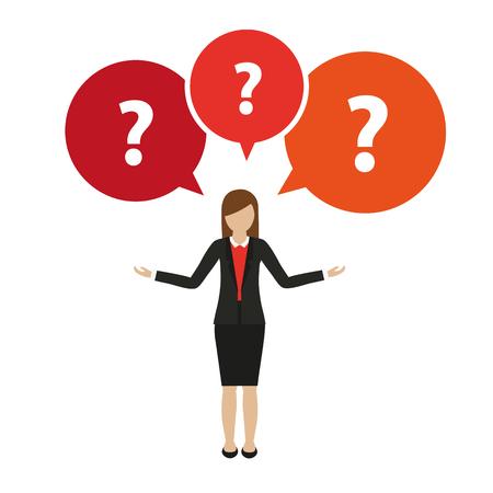 Caractère femme d'affaires a de nombreuses questions isolé sur fond blanc vector illustration EPS10 Vecteurs