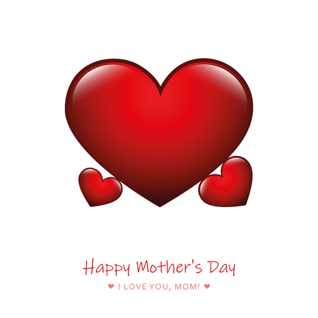red heart mothers day design vector illustration Illustration