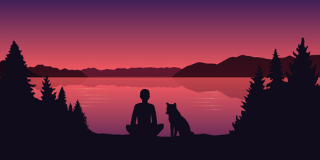 man and his dog by the lake beautiful red landscape vector illustration EPS10