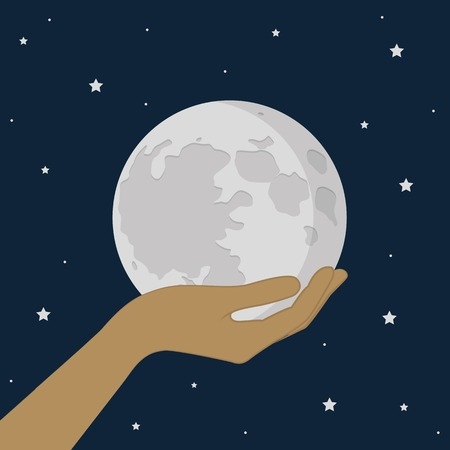 hand hold the moon in universe starry sky vector illustration EPS10