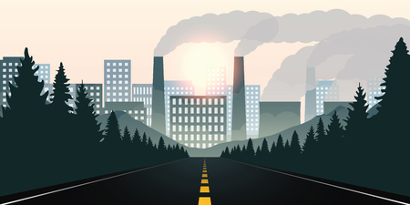 forest road towards city and pollution by industry vector illustration EPS10 向量圖像