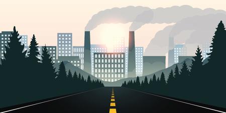Waldweg in Richtung Stadt und Verschmutzung durch Industrievektorillustration EPS10 Vektorgrafik