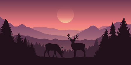 two reindeer in the mountains with forest landscape vector illustration EPS10