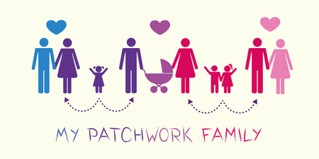 big patchwork family concept pictogram vector illustration Illustration