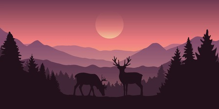 two reindeer in the mountains with forest landscape vector illustration