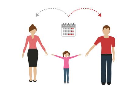 Concept de gestion du temps de la famille patchwork garde d'enfants parents divorcés vector illustration EPS10