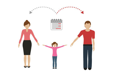 patchwork family time management concept child care divorced parents vector illustration EPS10