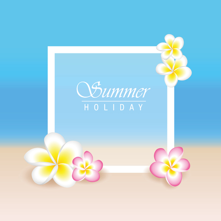 summer holiday with frangipani exotic flowers plumeria and beach background vector illustration EPS10