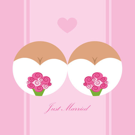 concept of lesbian love wedding of two girls vector illustration