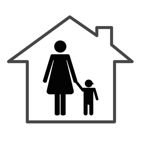mother with a child in a house vector illustration Illustration