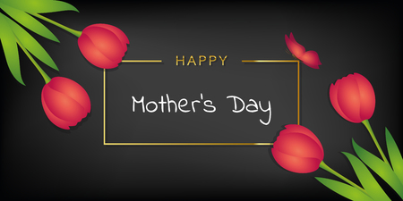 happy mothers day black card with tulips and butterfly vector illustration EPS10