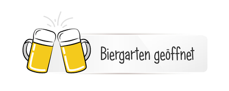 beer garden open typography white label isolated on a white background vector illustration EPS10