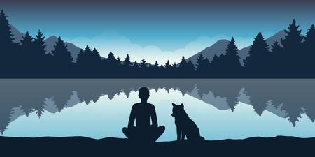 la persona e il suo cane si godono la natura della foresta al lago illustrazione vettoriale EPS10 Vettoriali