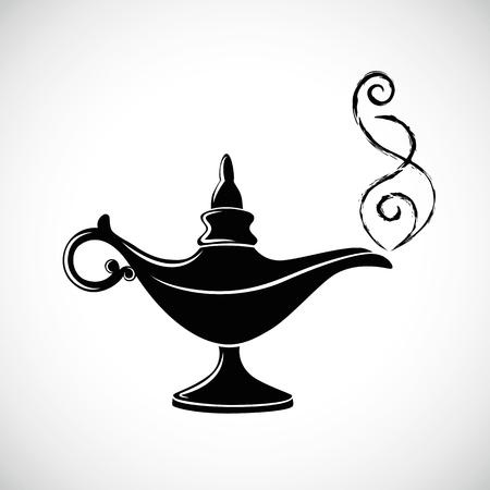 magic aladin miracle lamp vector illustration black